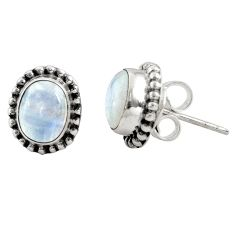 3.17cts natural rainbow moonstone 925 sterling silver stud earrings r22838