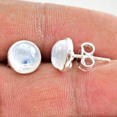 5.65cts natural rainbow moonstone 925 sterling silver stud earrings r27336