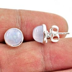 6.72cts natural rainbow moonstone 925 sterling silver stud earrings r27339