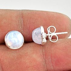 5.72cts natural rainbow moonstone 925 sterling silver stud earrings r27360