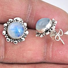 5.90cts natural rainbow moonstone 925 sterling silver stud earrings r55139