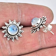 2.90cts natural rainbow moonstone 925 sterling silver stud earrings r55157