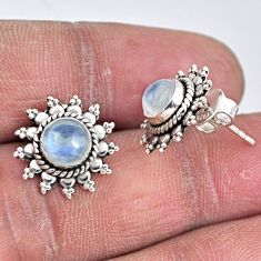 2.74cts natural rainbow moonstone 925 sterling silver stud earrings r55158