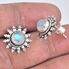 2.90cts natural rainbow moonstone 925 sterling silver stud earrings r55160