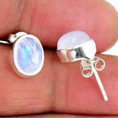 5.43cts natural rainbow moonstone 925 sterling silver stud earrings r56503