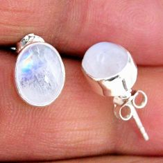 4.91cts natural rainbow moonstone 925 sterling silver stud earrings r56506