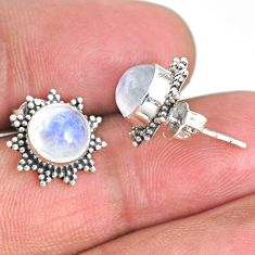 4.91cts natural rainbow moonstone 925 sterling silver stud earrings r67016