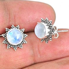 4.91cts natural rainbow moonstone 925 sterling silver stud earrings r67017