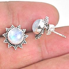 4.57cts natural rainbow moonstone 925 sterling silver stud earrings r67018