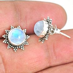 4.91cts natural rainbow moonstone 925 sterling silver stud earrings r67020