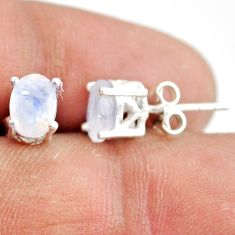 3.39cts natural rainbow moonstone 925 sterling silver stud earrings r87440