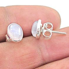 4.28cts natural rainbow moonstone 925 sterling silver stud earrings t19240