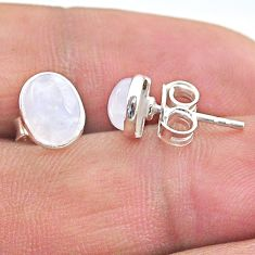 3.87cts natural rainbow moonstone 925 sterling silver stud earrings t19259