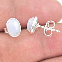 3.77cts natural rainbow moonstone 925 sterling silver stud earrings t29319