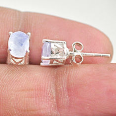 2.81cts natural rainbow moonstone 925 sterling silver stud earrings t4879