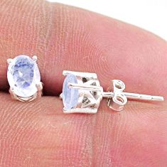 2.79cts natural rainbow moonstone 925 sterling silver stud earrings t4898