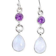7.24cts natural rainbow moonstone amethyst 925 silver dangle earrings r66762