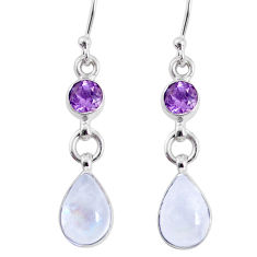 6.85cts natural rainbow moonstone amethyst 925 silver dangle earrings r66766