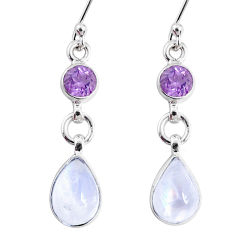 7.62cts natural rainbow moonstone amethyst 925 silver dangle earrings r66771