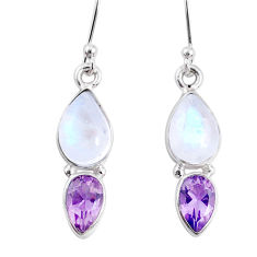 8.26cts natural rainbow moonstone amethyst 925 silver dangle earrings r66802