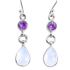 6.61cts natural rainbow moonstone amethyst 925 silver dangle earrings r66808