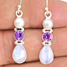 9.16cts natural rainbow moonstone amethyst 925 silver dangle earrings r69225