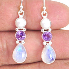 9.57cts natural rainbow moonstone amethyst 925 silver dangle earrings r76582