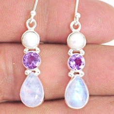 9.16cts natural rainbow moonstone amethyst 925 silver dangle earrings r76586