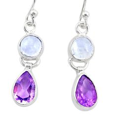 8.56cts natural rainbow moonstone amethyst 925 silver dangle earrings r87121