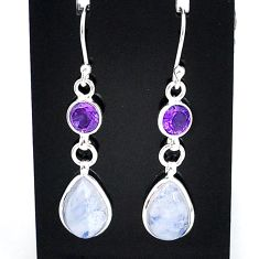 9.21cts natural rainbow moonstone amethyst 925 silver dangle earrings t4362