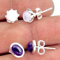 5.43cts natural rainbow moonstone amethyst 925 silver stud earrings r41287