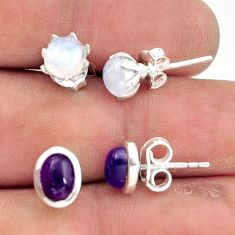 5.19cts natural rainbow moonstone amethyst 925 silver stud earrings r41294