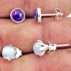 3.19cts natural rainbow moonstone amethyst 925 sterling silver earrings r45136