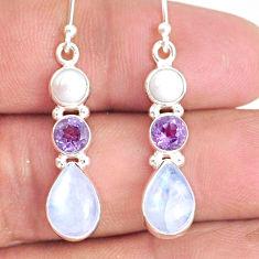 9.18cts natural rainbow moonstone amethyst pearl 925 silver earrings r76597