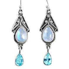 8.83cts natural rainbow moonstone blue topaz 925 silver dangle earrings r59778