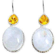 12.18cts natural rainbow moonstone citrine 925 silver dangle earrings r71350