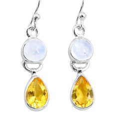 8.01cts natural rainbow moonstone citrine 925 silver dangle earrings t4184