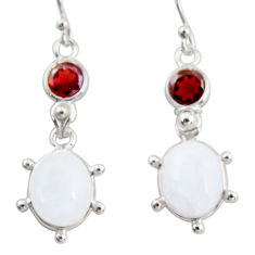 12.07cts natural rainbow moonstone garnet 925 silver dangle earrings r36523