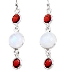 10.65cts natural rainbow moonstone garnet 925 silver dangle earrings r36525
