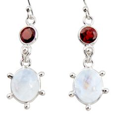 12.18cts natural rainbow moonstone garnet 925 silver dangle earrings r36529