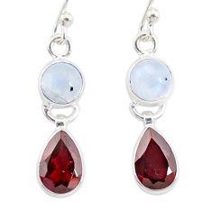 8.56cts natural rainbow moonstone garnet 925 silver dangle earrings r87159