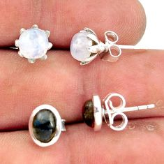 5.47cts natural rainbow moonstone labradorite 925 silver stud earrings r41281