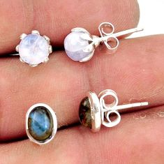 5.52cts natural rainbow moonstone labradorite 925 silver stud earrings r41285