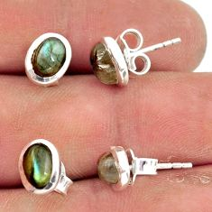 6.03cts natural rainbow moonstone labradorite 925 silver stud earrings r41290