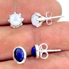 5.80cts natural rainbow moonstone lapis lazuli 925 silver stud earrings r41282