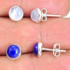 5.66cts natural rainbow moonstone lapis lazuli 925 silver stud earrings r81591