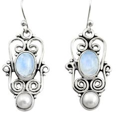 4.02cts natural rainbow moonstone pearl 925 silver dangle earrings r21686