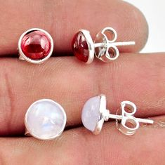 6.10cts natural rainbow moonstone red garnet 925 silver stud earrings r41240