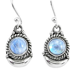 2.53cts natural rainbow moonstone sterling silver dangle moon earrings r89199