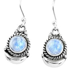 2.67cts natural rainbow moonstone sterling silver dangle moon earrings r89200